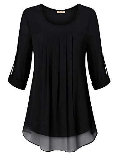 Timeson Tunic Shirts for Women to Wear with Leggings, Woman Comfy Chiffon Tunic Tops Vintage Scoop Neck Double Layers Pleated Front A Line Swing Blouses for Work Black Medium