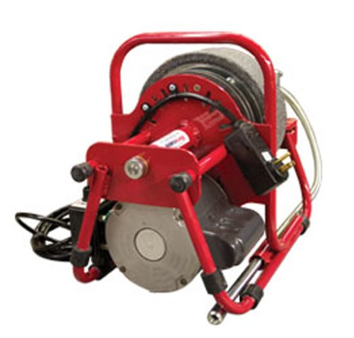 Duracable DM125A Motor at 230 RPM with Air Foot Pedal, 8'' Polyethylene Reel and 1/4'' x 37' Cable, 1/6HP
