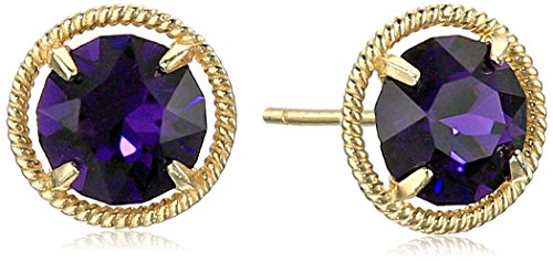 10k Gold Made with Swarovski Birthstone February Stud Earrings (February For Earrings Birthstone)