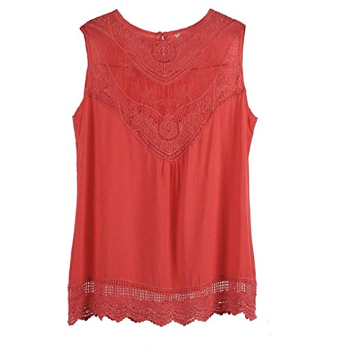 Cinidy Women Summer Vest Top Sleeveless Blouse Casual Tank Tops Shirt Lace (M, Hot Pink) (M&m Tank Costume)