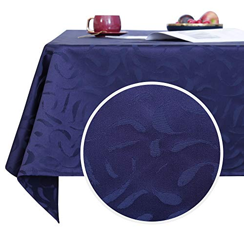 Deconovo Designer Series Luxurious Jacquard Tablecloth for Dining Room Table Water Resistant Rectangle Table Cover 54x72 Inch Blue Ribbon
