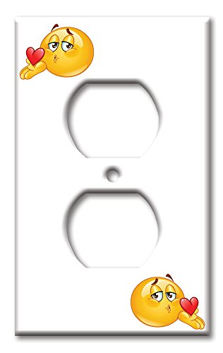 Kids Bedroom Decor Electrical Outlet Cover Emoji Kiss Heart