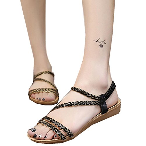Elevin(TM)2017Women Summer Bohemia Weave Sandals Clip Toe Sandals Beach Shoes Black