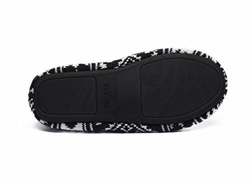 Ofoot Women's Acrylic Fibers Jacquard Ballerina Slippers with Snowflake Patterns (Medium / 7-8 B(M) US, Black) Photo #2