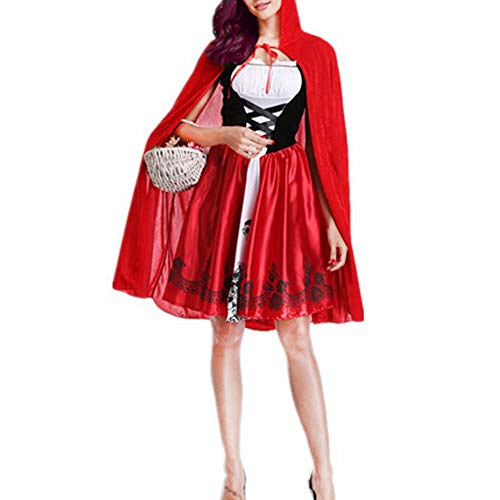 Phyxin Little Red Hood Costume Halloween Cosplay Party Dresses with Cloak for Women Red S]()