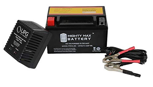 Mighty Max Battery YTX7A-BS 12V 6AH Replaces Kasea 125 KS KU Adventure +12V 1Amp Charger brand product ()