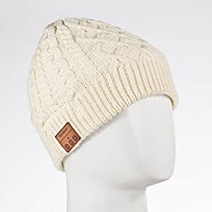 Tenergy Wireless Bluetooth Hands-Free Beanie Braid Cable Knit, Color Cream