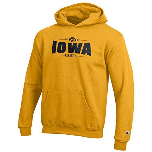 Champion NCAA Iowa Hawkeyes Youth Boys Fleece Hoodie, Large, Gold (Hawkeyes Iowa Hoodie)