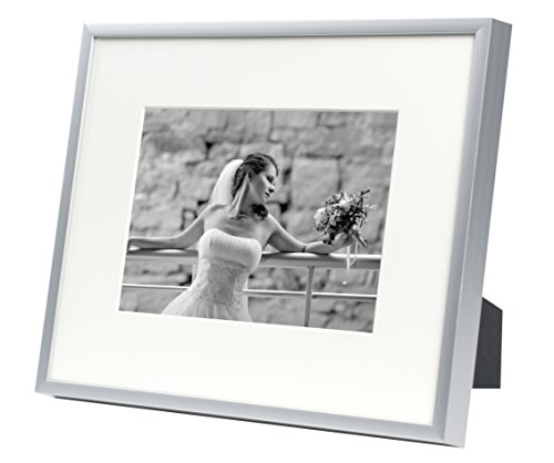 Golden State Art, Metal Wall Photo Frame Collection, Aluminum Silver Photo Frame with Real Glass (8x10-Table top) For 5x7 Picture