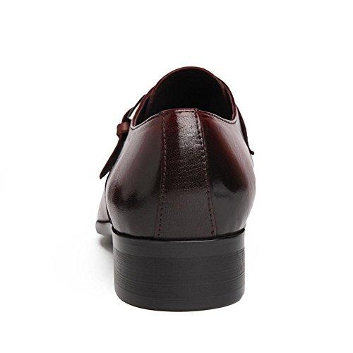Hombres Cuero Zapatos Formal Boda Negocio Puntiagudo Dedo del pie Oxford Encajes Hebilla Negro marrón Oficina Trabajo Fiesta Brown