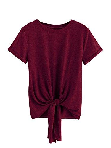 MAKEMECHIC Women's Summer Crop Top Solid Short Sleeve Tie Front T-Shirt Top Burdundy M