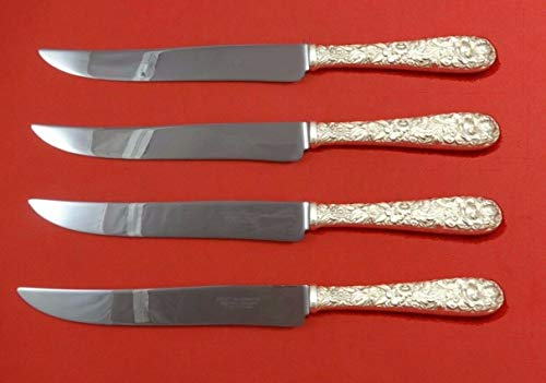 (Repousse by Kirk Sterling Silver Steak Knife Set 4pc Large Texas Sized Custom)