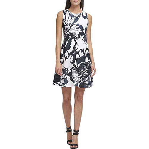 DKNY Womens Printed Trapeze Mini Dress White 6 (Dkny Dress Women)