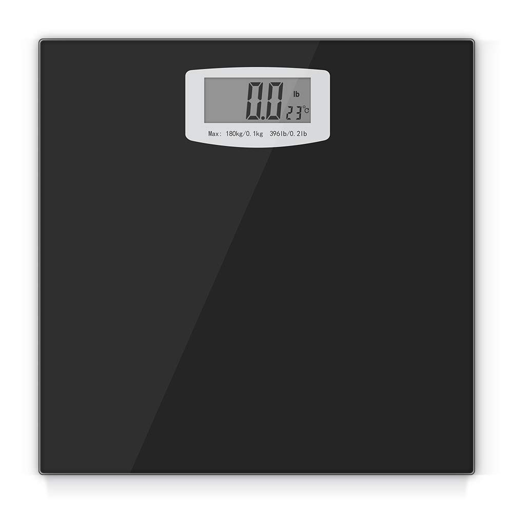 Digital Bathroom Scale, Body Weight Scales Fitness Tracker with High Precision Weighing Sensors and Temperature Measurement, Capacity 396 pounds