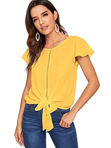 Milumia Women's Summer Flutter Sleeve Lace Knot Front Work Chiffon Blouse Top Yellow