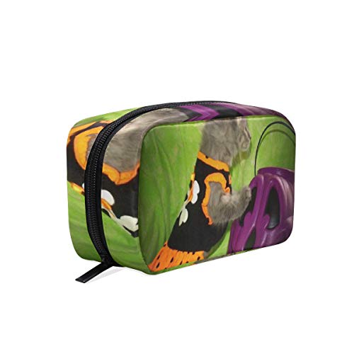 Portable Organizer Makeup bag,Halloween Kitty Animals Cats Cosmetic Bags Multi Compartment Travel Pouch Storage for -