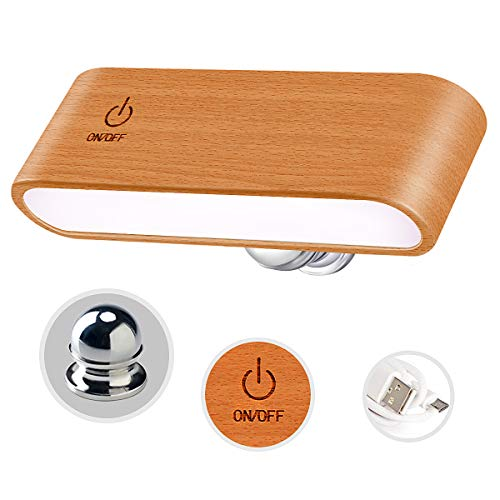 Reading Lights for Books in Bed [Noble Wooden Magnetic Dimmable 360° Rotatable] Portable Lights Battery Powered Lamps for Bedrooms Living Room Bedside, Rechargeable Night Wall Table Lights for Reading