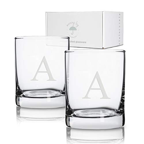 Personalized Scotch Whiskey Glasses Set of 2, Old Fashioned Barware Glassware with Sandblasted Monograms, 7.75 oz Capacity Each (A) (Monogrammed Cocktail Glasses)