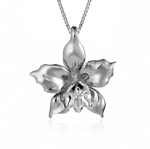 Sterling Silver Orchid Necklace Pendant with 18