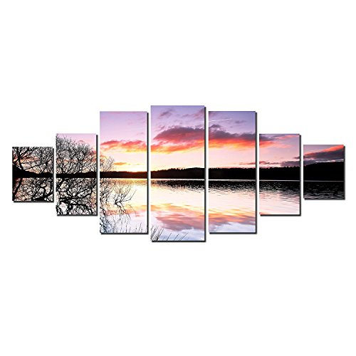 Startonight Glow in the Dark, Huge Canvas Wall Art Sunset On The Lake Home Decor, Dual View Surprise Artwork Modern Framed Wall Art Set of 7 Panels Total 39.37 x 94.49 inch by Startonight