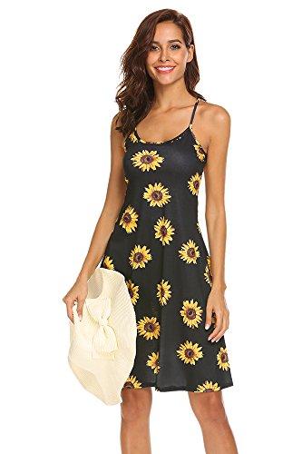 Naggoo Womens Floral Print Spaghetti Strap A-Line Knee Length Summer Beach Dress