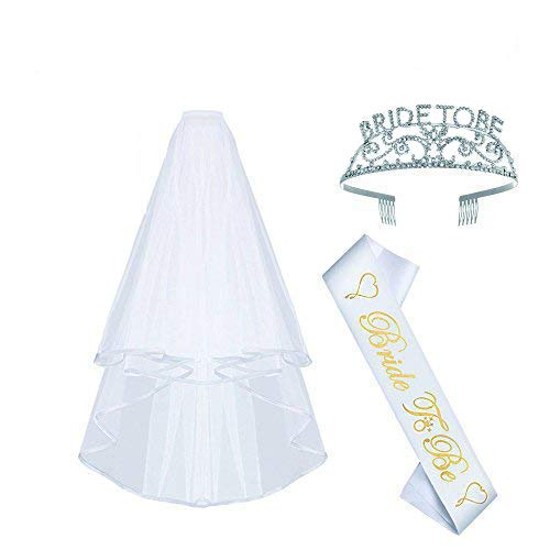 AmaJOY Set of 3 Bachelorette Party Supplies Bride to be Kit Bride-To-Be Satin Sash, Bachelorette Tiara/Crown, Bachelorette Veil with Comb,White
