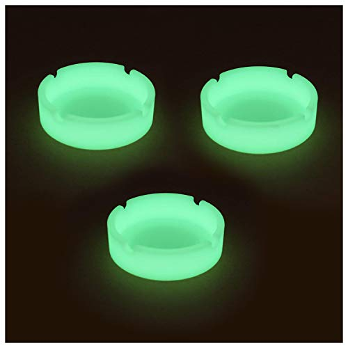 Gizhome 3 Pack Luminous Silicone Ashtray Premium Silicone Rubber High Temperature Heat Resistant Round Design Ashtray Durable Glow in ()