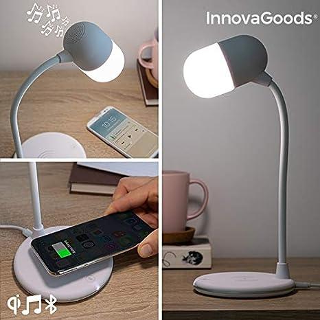 InnovaGoods Lámpara LED con Altavoz y Cargador Inalámbrico ...