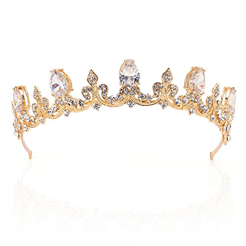 Gold Wedding Rhinestone Tiara Crown, Bridal Hair Jewelry Accessories Crystal Tiara for Flower Girl Kids (C951-G)