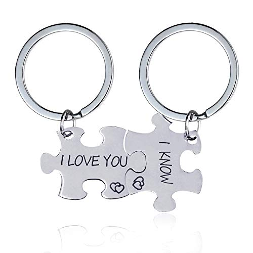 Uloveido Girls Boys Stainless Steel His and Hers 2 Couple Keychains Set for Women Men, Personalized Lovers Puzzle Matching Key Ring Jewelry Set for Boyfriend Girlfriend SN141 (I Love You-I Know)]()