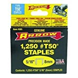 Arrow Fastener 505 4 Pack 5/16in. T50 Heavy Duty Staples, 1,250 Staples Per Pack