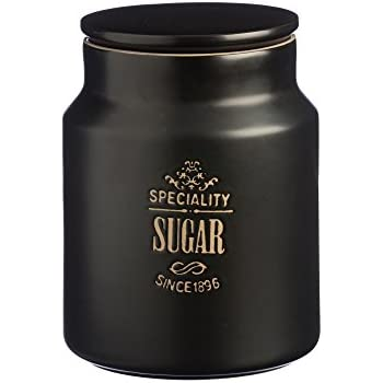 Price and Kensington Stoneware Specialty Sugar Storage Jar, 32-Fluid Ounces, Black
