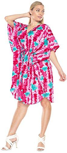 La Leela likre suave hibisco ropa de playa encubrir corta caft�n ocasional vestido de la noche rosado