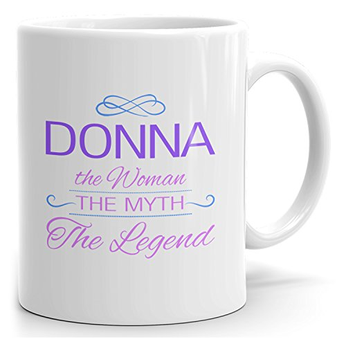 Donna tea mug - The Woman The Myth The Legend - at Home or in the Office - 15oz White Mug - Purple