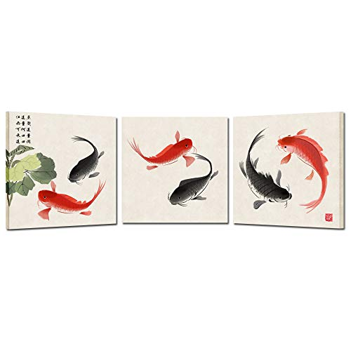 Kreative Arts Happy Fish 3 Piece Giclee Canvas Prints Wall Art Animals Pictures Traditional Chinese Paintings for Bedroom Kitchen Bathroom Home Decorations Ready to Hang (12x12inchx3pcs)