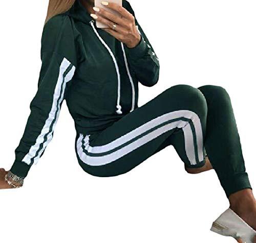 - Zimaes-Women Pinstripe Luxury 2-Piece Casual Sport Sweat Suit Set Army Green M