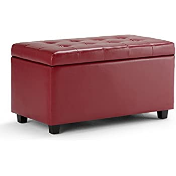 Superbe Simpli Home Cosmopolitan Faux Leather Rectangular Storage Ottoman Bench, Red