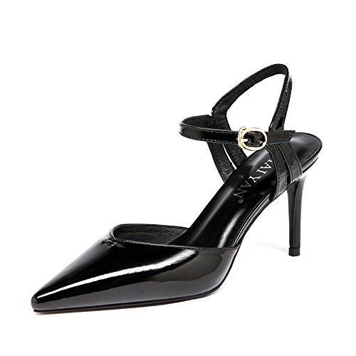 Cour Été Cuir Classique Talons Partie de ZXCB Sandales en Mariage Haut Sexy Pointus de Black8cm Femmes Verni La fqHxaw