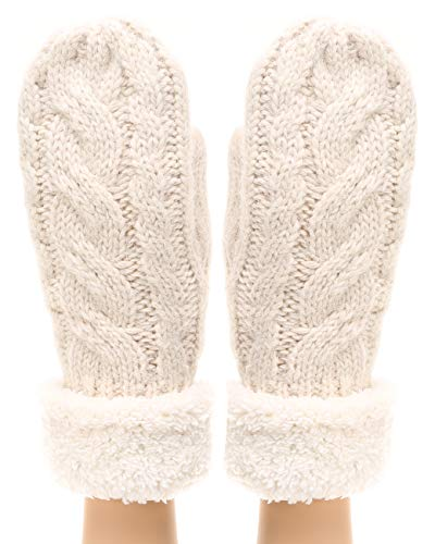 nter Warm Gloves Classic Thick Cable Knit Mittens with Soft Plush Lining (Cable, Beige) ()