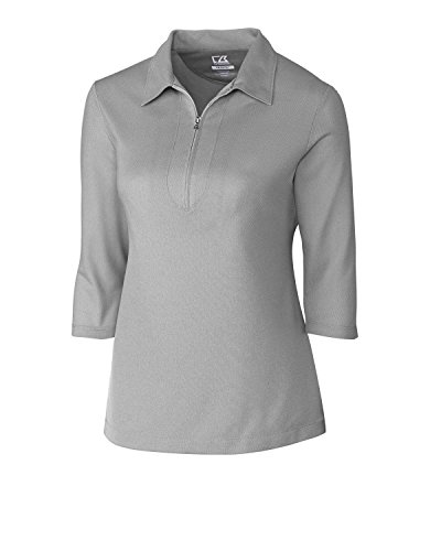 (Cutter & Buck LCK08643 Women's Blaine Oxford 3/4 Sleeve Zip Polo Onyx/White Small)