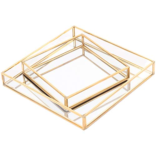 Koyal Wholesale Glass Mirror Square Trays Vanity Set of 2, Gold Decorative Mirrored Trays for Coffee Table, Bar Cart, Dresser, Bathroom, Perfume, Makeup, Wedding Centerpieces (Table Gilded Coffee)
