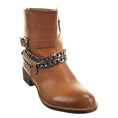 Sopily - damen Mode Schuhe Stiefeletten Reitstiefel - Kavalier Schleife Kette metallisch Schuhabsatz Blockabsatz - Camel