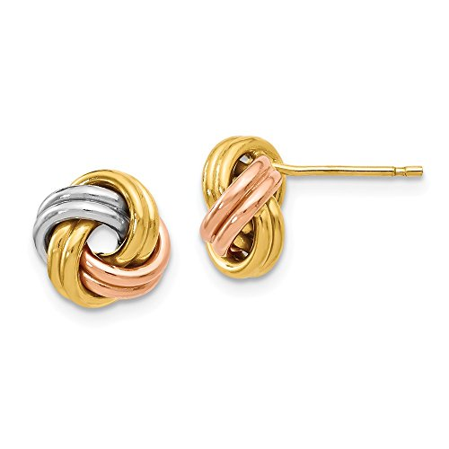 (Leslie's 14K Tri Color Gold Polished Love Knot Post Earrings)