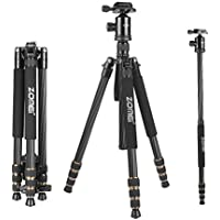 ZOMEi Z668C Carbon Fiber Tripod Monopod with Ball Head and Quick Release Plate for DSLR Camera, Black