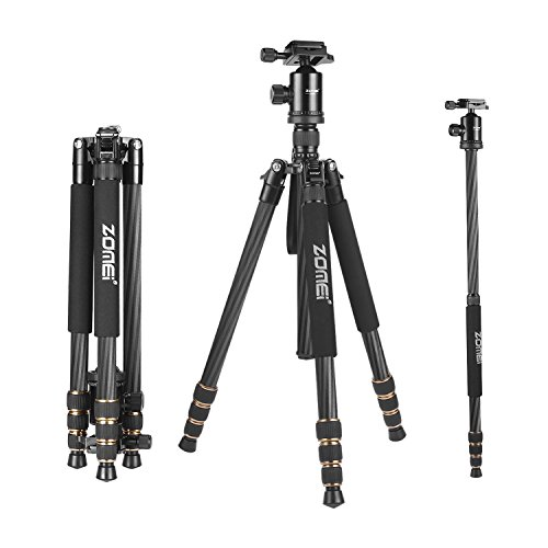 ZOMEi Z668C Carbon Fiber Tripod Monopod with Ball Head and Quick Release Plate for DSLR Camera, Black by ZOMEI