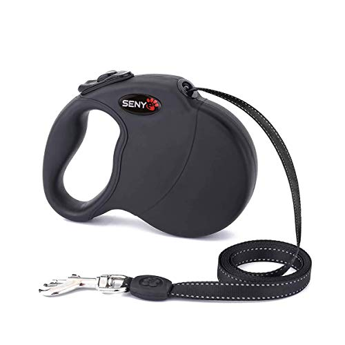 SENYEPETS Retractable Dog Leash Durable Eco-Friendly Pet Walking Leash Retractable Design for Maximum Freedom Length 16.5Ft Best Suited for Dogs Less Than or Equal to 100 Pounds (16Ft,Black)