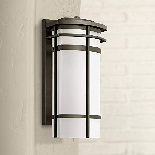 Clemson Modern Outdoor Wall Light Fixture LED Bronze Steel 16 1/4