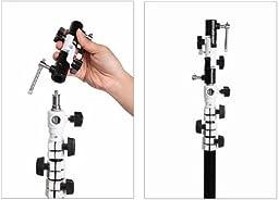 FINEX Full aluminum OM-18 Pro Flash Hot Shoe Umbrella Holder adapter mount with Swivel/Tilt Bracket 3 section U shape for Nikon and Canon Speedlight