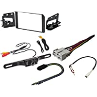 Metra 95-3003G Double DIN Stereo Installation Dash Kit Chevy GMC Cadillac Set + RadioBypass Pulse Parking Brake video overide for AVH Pioneer + Rear View Night Vision LIcense Plate Camera