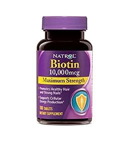 Natrol Biotin Maximum Strength Tablets, 10,000mcg , 100 Count (pack of 2)